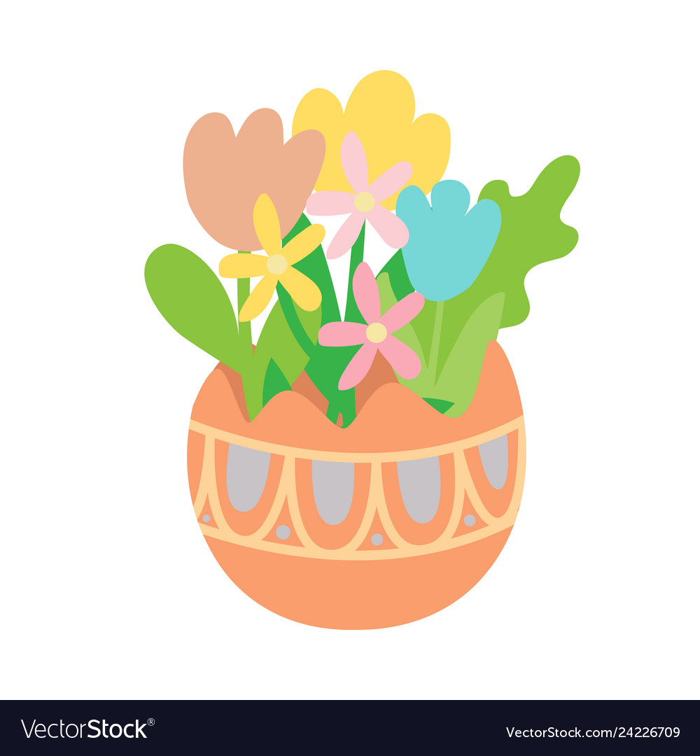 Flat pastel flowers in colored easter egg
