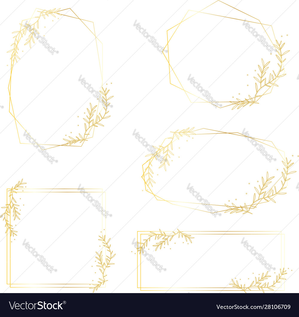 Hand drawing golden frame collection
