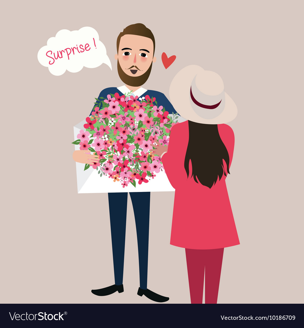 Man give girl flower bouquet surprise
