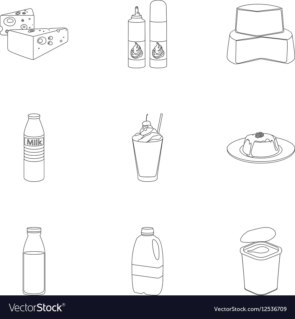 Milk product and sweet set icons in outline style