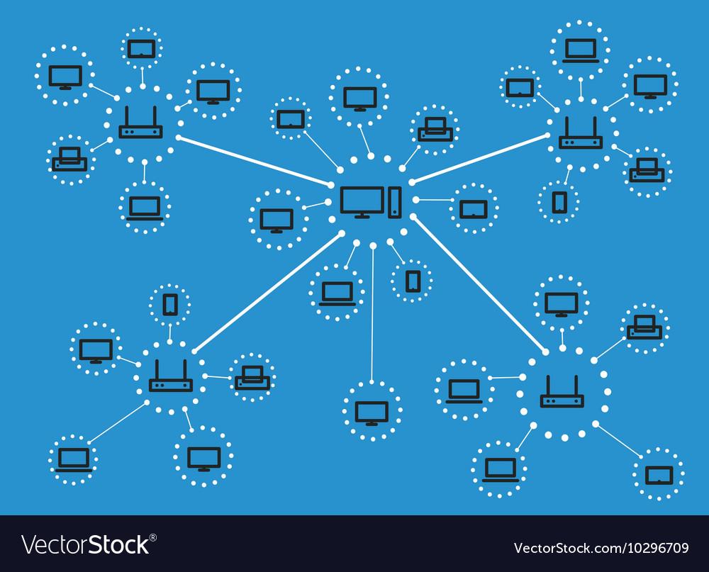Modern web media network scheme Lineart design