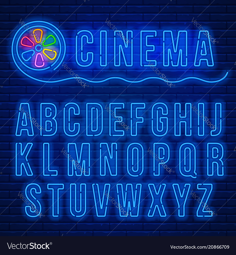 Neon latin alphabet