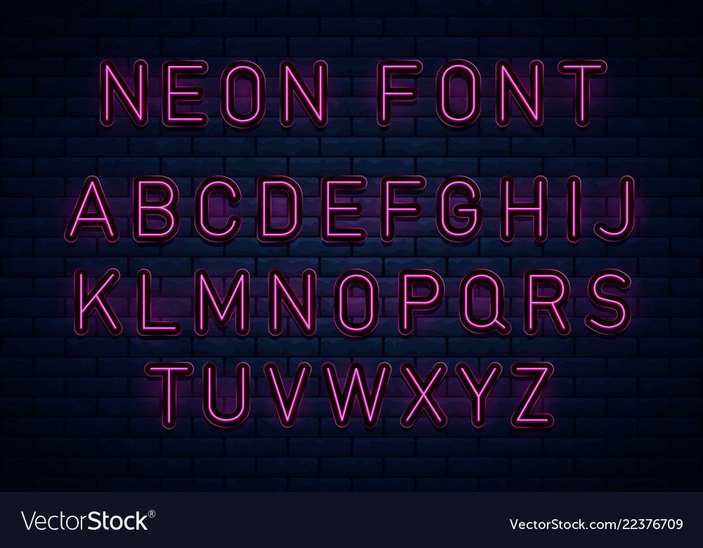 Neon red font