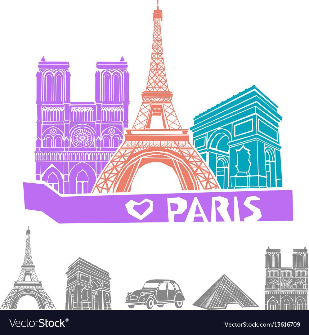 Paris travel icon set