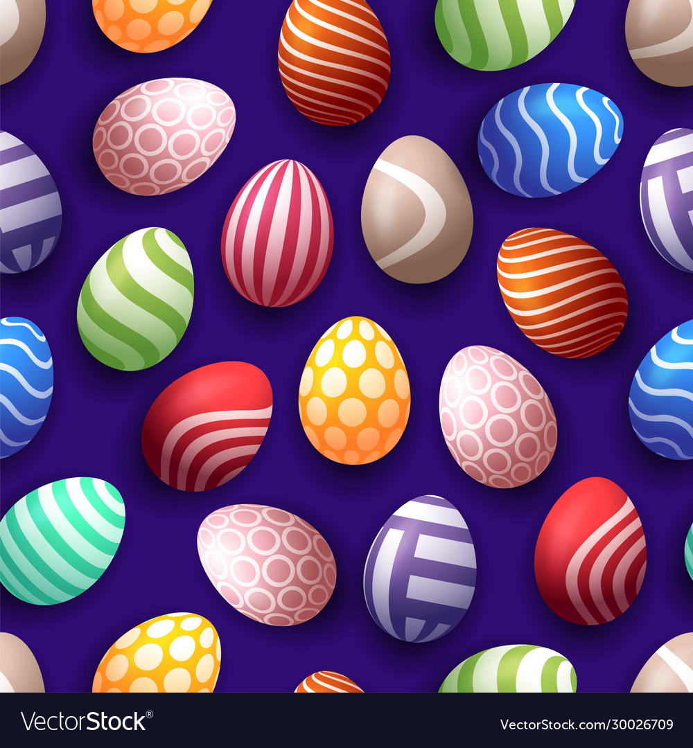 Seamless happy easter pattern with realistic eggs