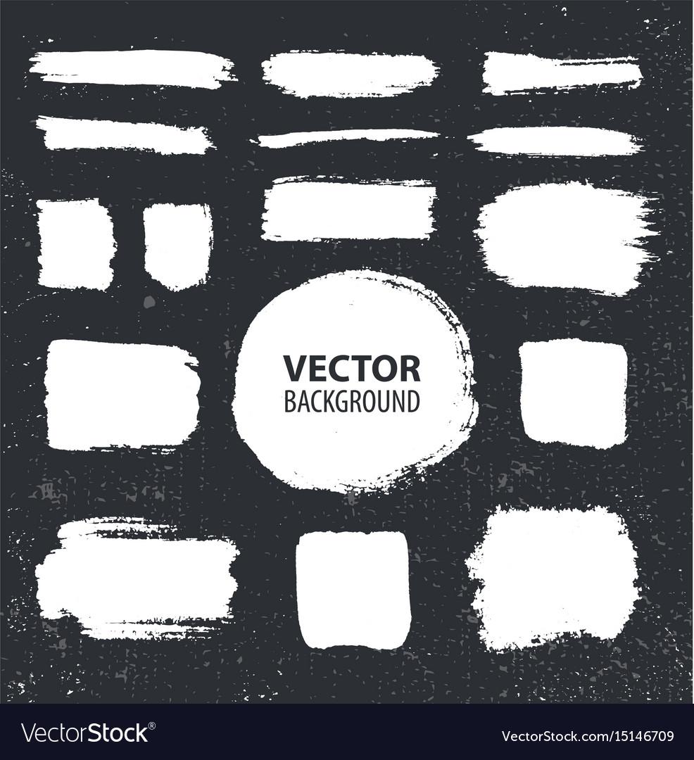 Set of brush ink strokes white on black vector image