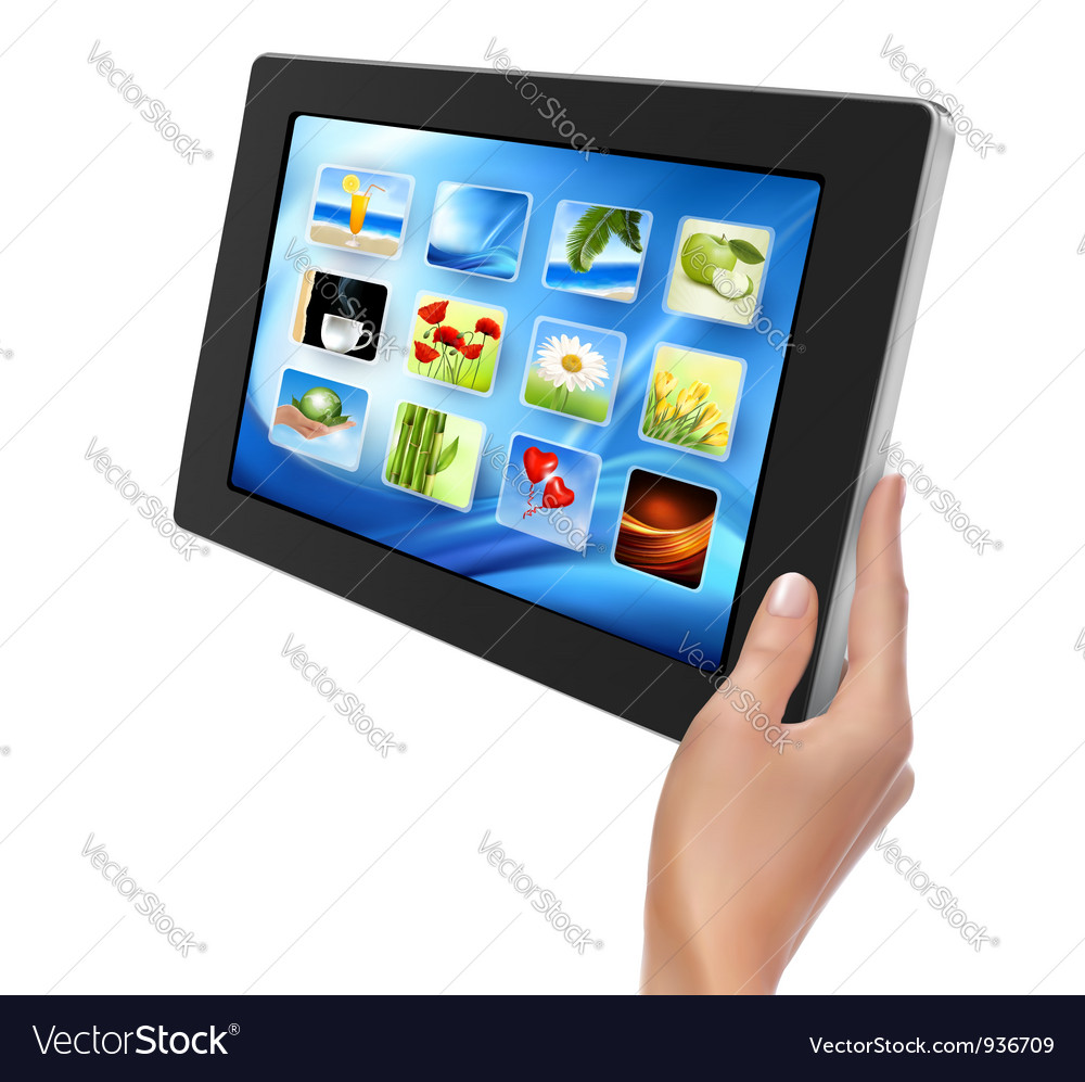 Tablet pc with icons and hand