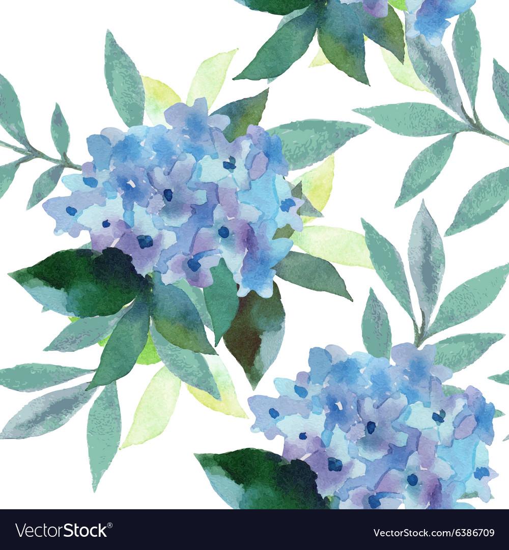 Watercolor pattern of Hydrangea flowers