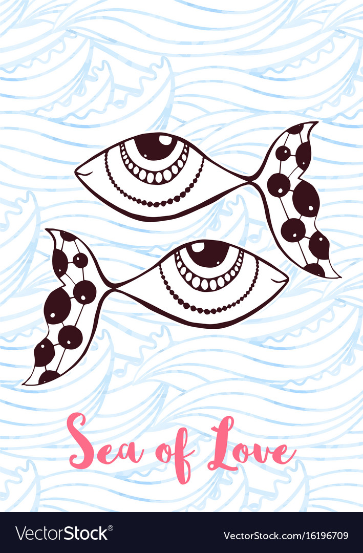 Zentangle greeting card with cute fishes sea of vector image
