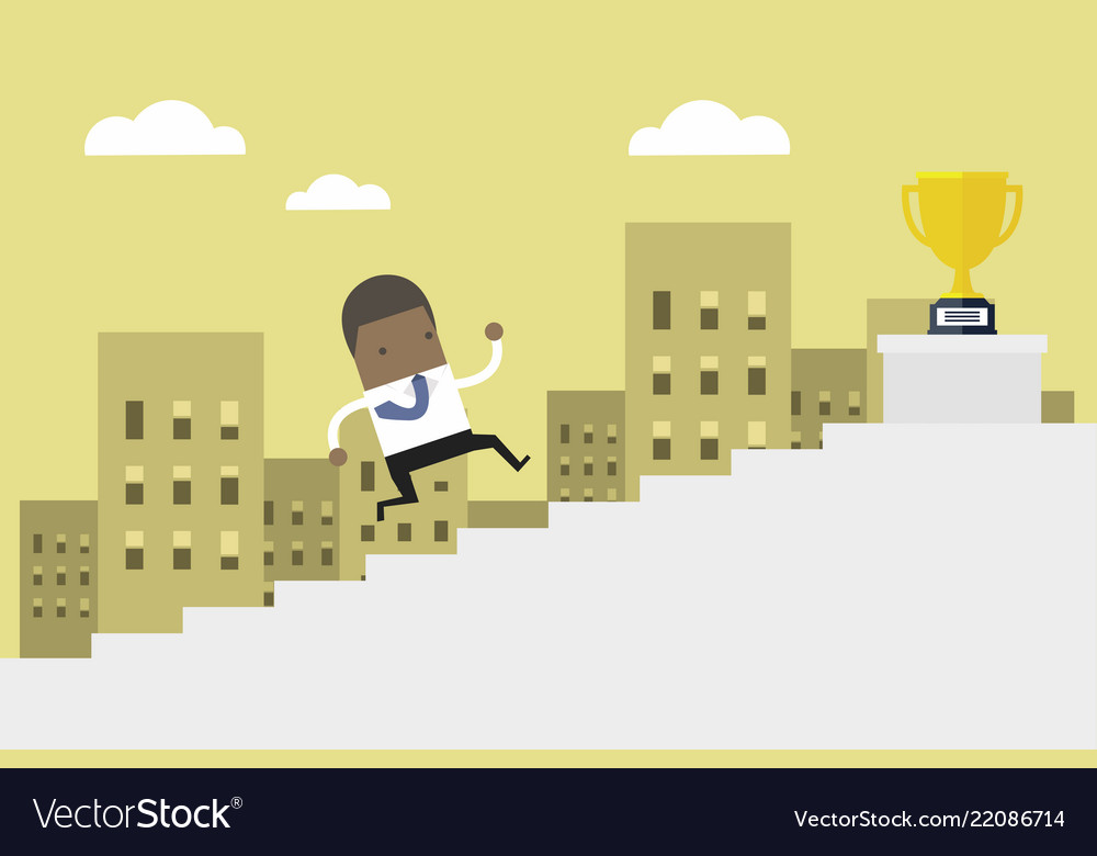 African businessman running up stairs