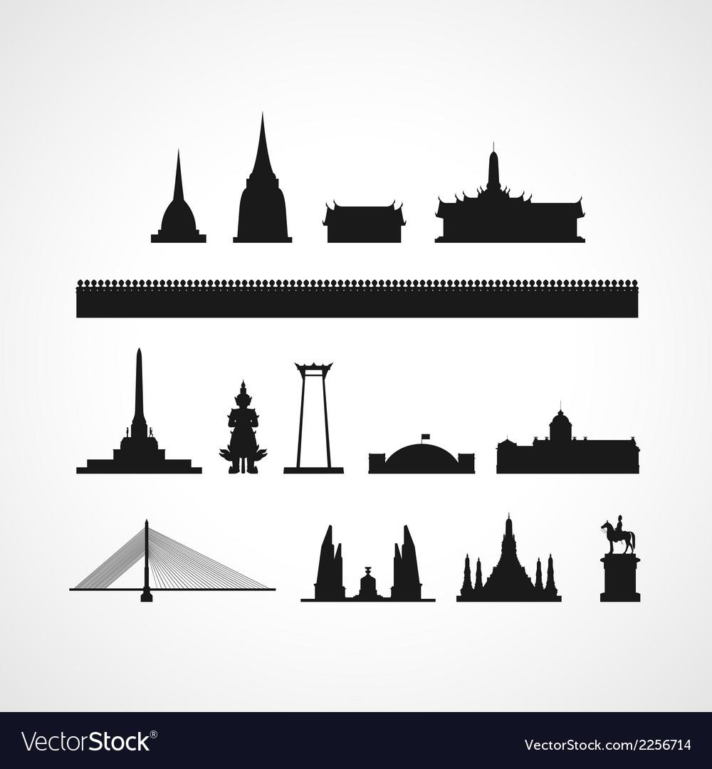 Bangkok landmark silhouettes vector image
