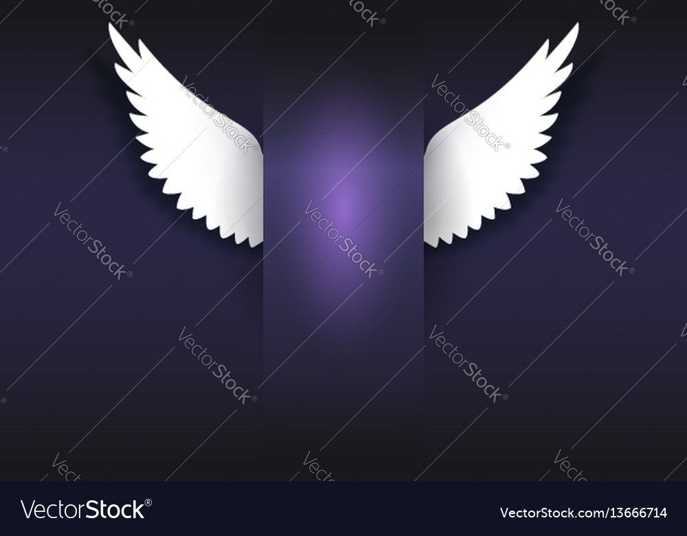Banner with angel wings artificial paper wings