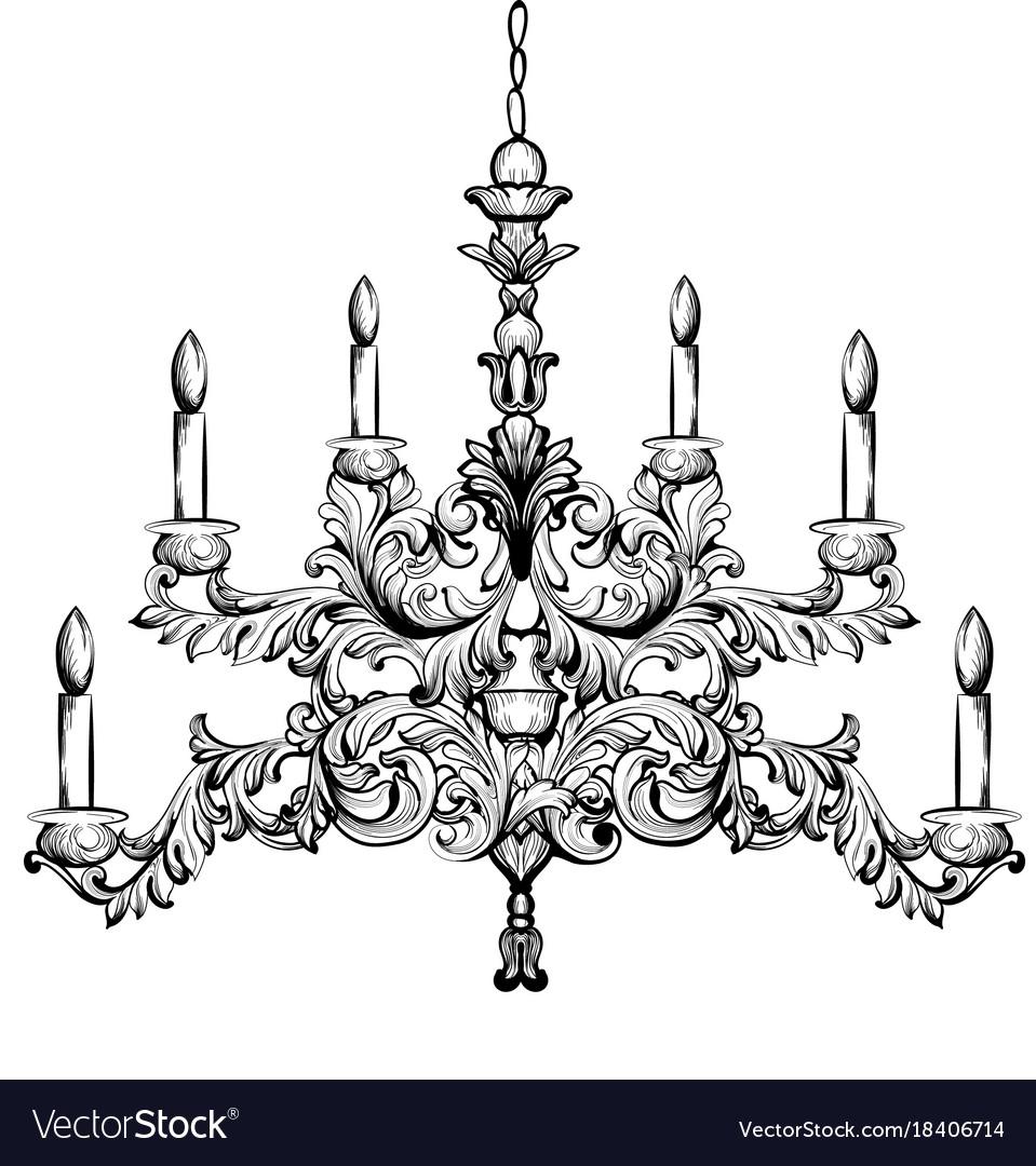 Baroque chandelier luxury decor accessory design vector image aloadofball Images