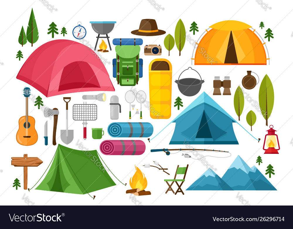 Camping equipment symbols