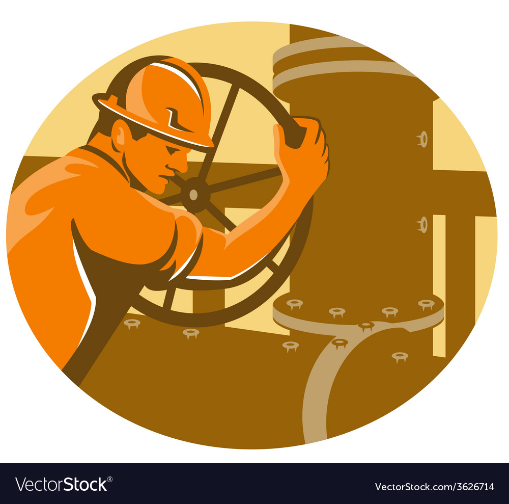 Gas and oil worker closing pipeline pipe valve vector image
