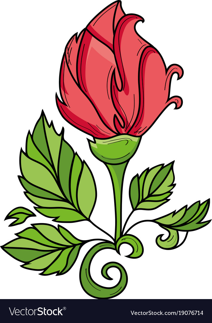 Hand drawn sketch rose with leaves vector image