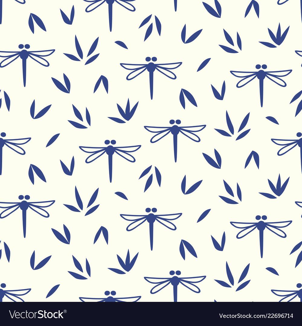 Hand drawn stylized dragonflies seamless pattern