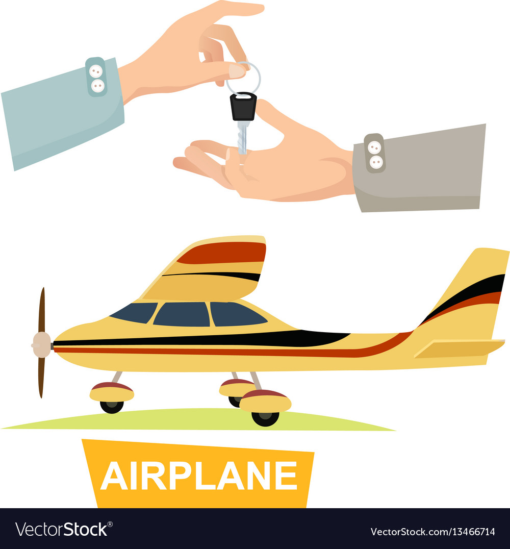 Hand passing key process of buying airplane vector image