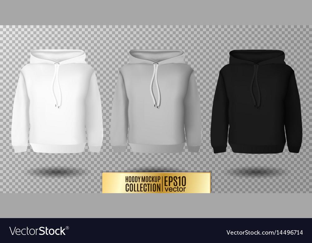 Hoody set realistic mockup long sleeve hoody vector image