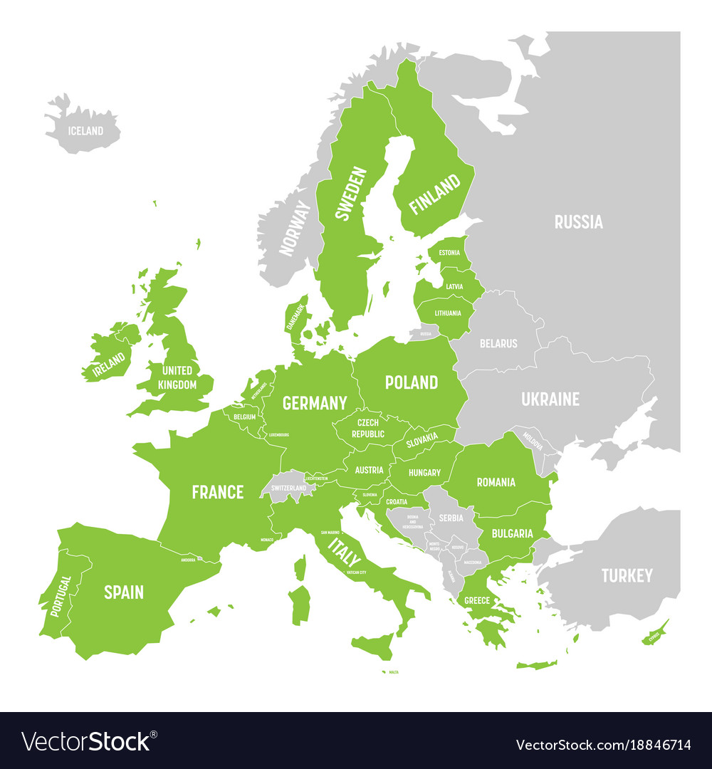 Map Of Europe With France Highlighted.Political Map Of Europe With Green Highlighted 28 Vector Image