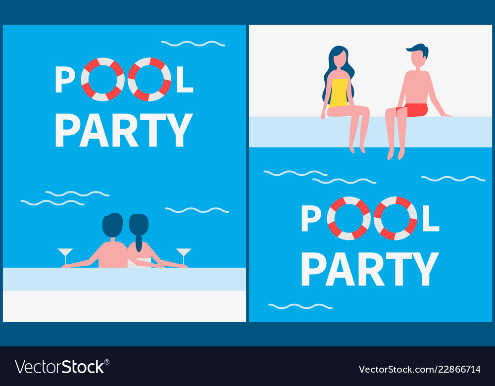Pool party posters text set
