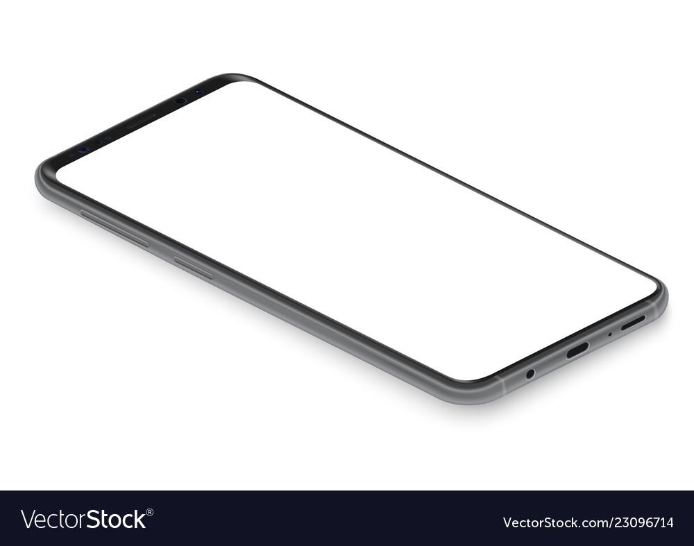 Realistic isometric black frameless smartphone