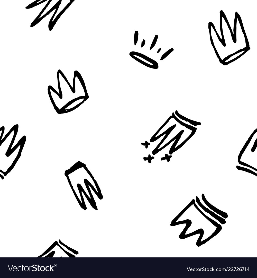 Seamless pattern of doodles hand drawn crowns