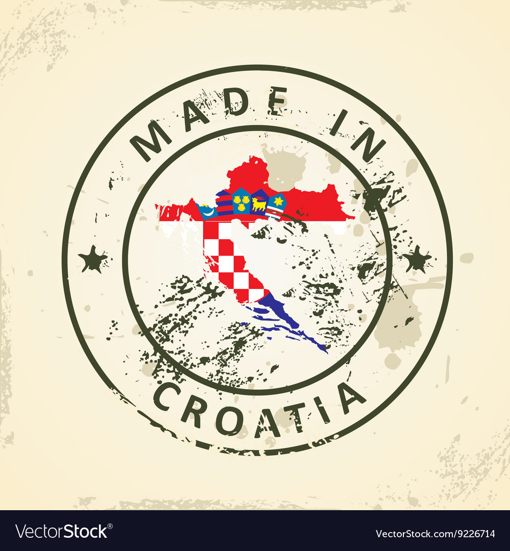 Stamp with map flag of Croatia