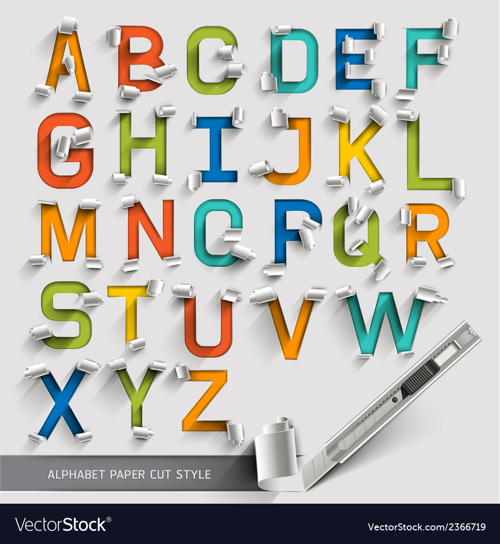 Alphabet paper cut colorful font style