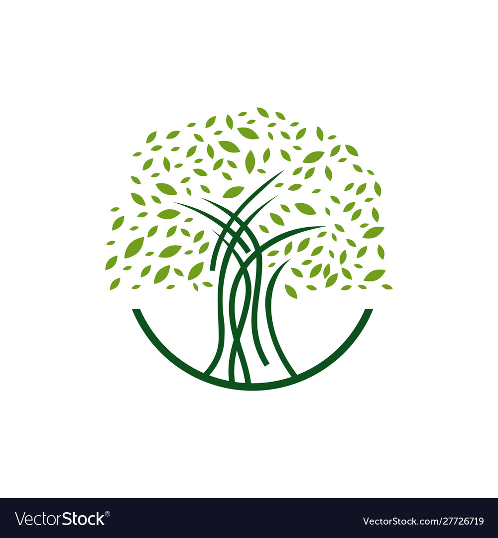 Colorful silhouette tree logo design graphics