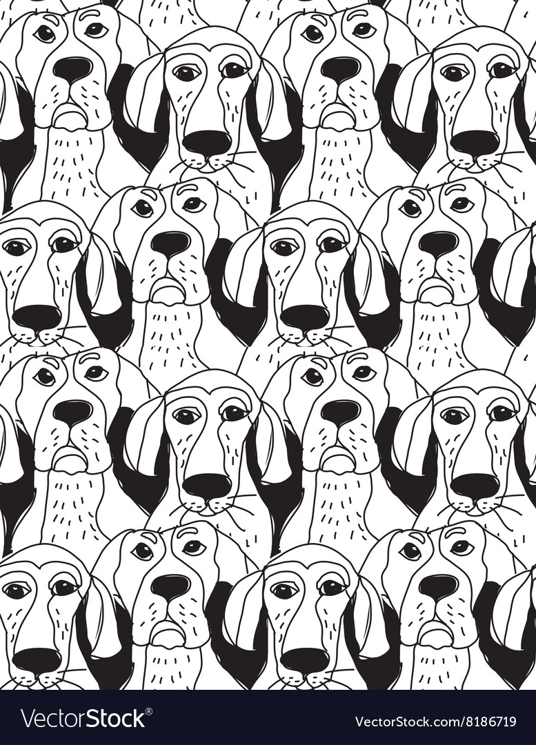 Dogs characters emotions black and white seamless