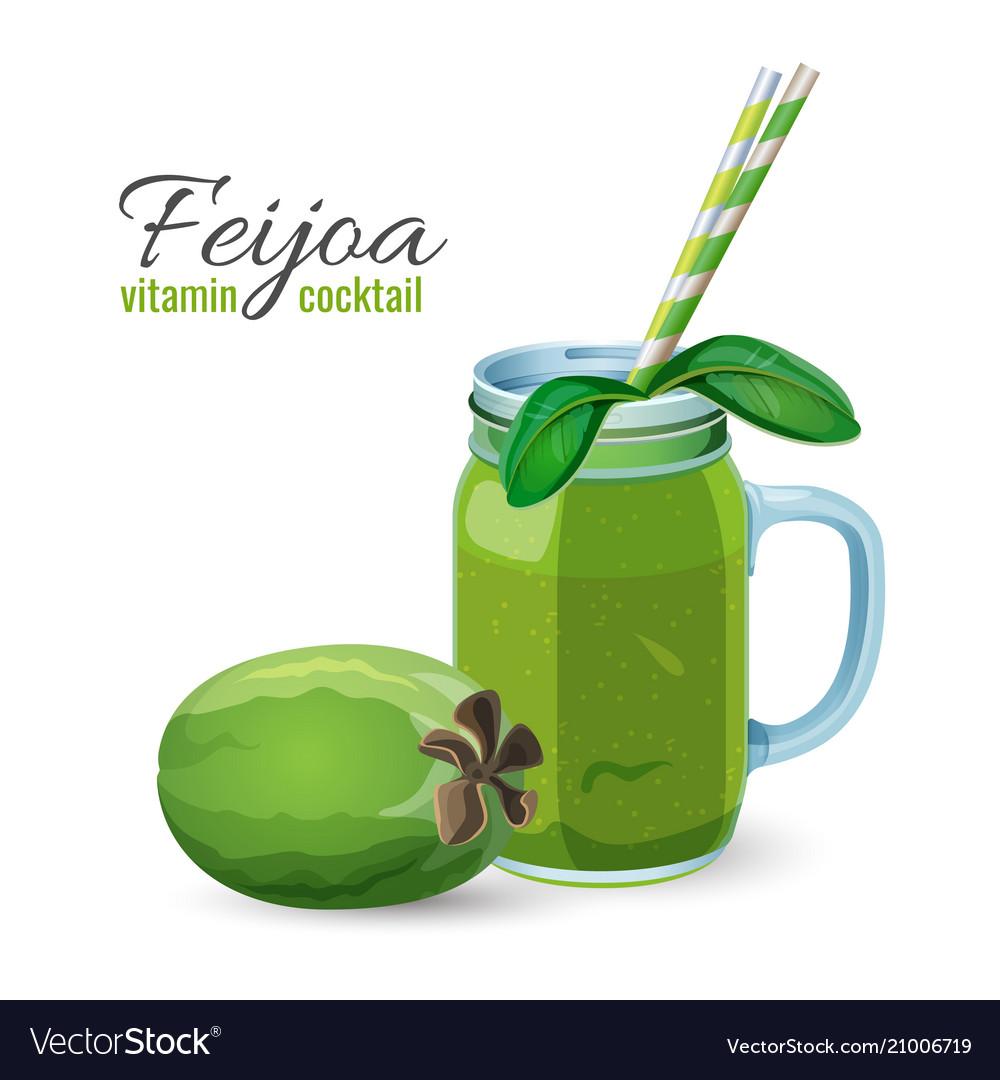 Feijoa fresh fruit cocktail in glass jar