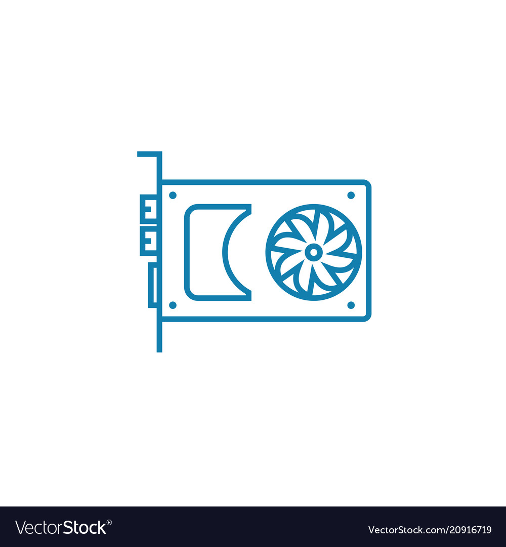 Graphic adapter linear icon concept graphic