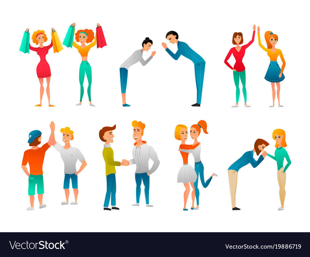 Greeting gestures flat characters set royalty free vector greeting gestures flat characters set vector image m4hsunfo
