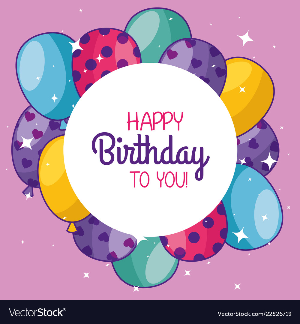 happy birthday with balloons and sticker vector image vectorstock
