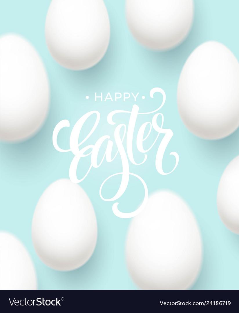 Happy easter egg lettering on blue background