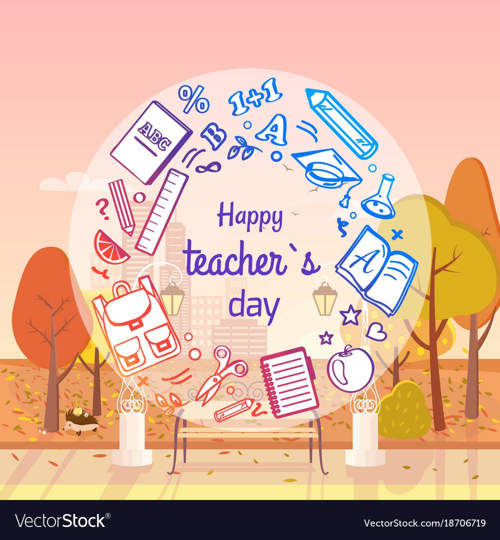 Happy teachers day autumn