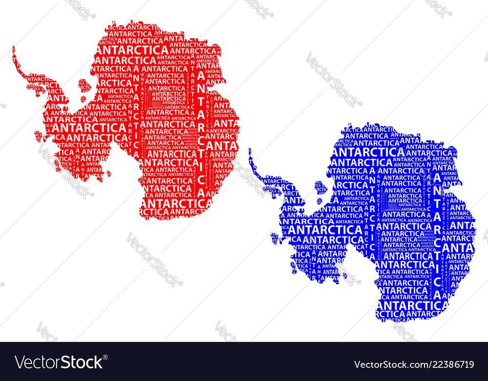 Map of continent antarctica