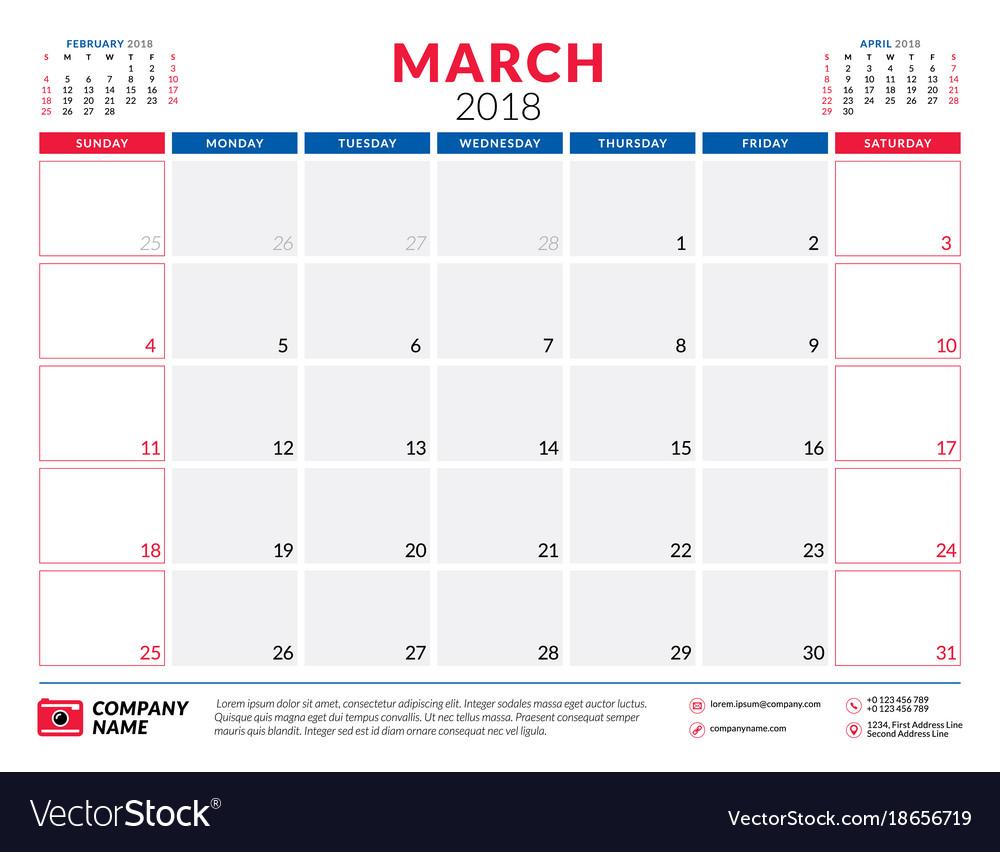 weekly calendar march 2018