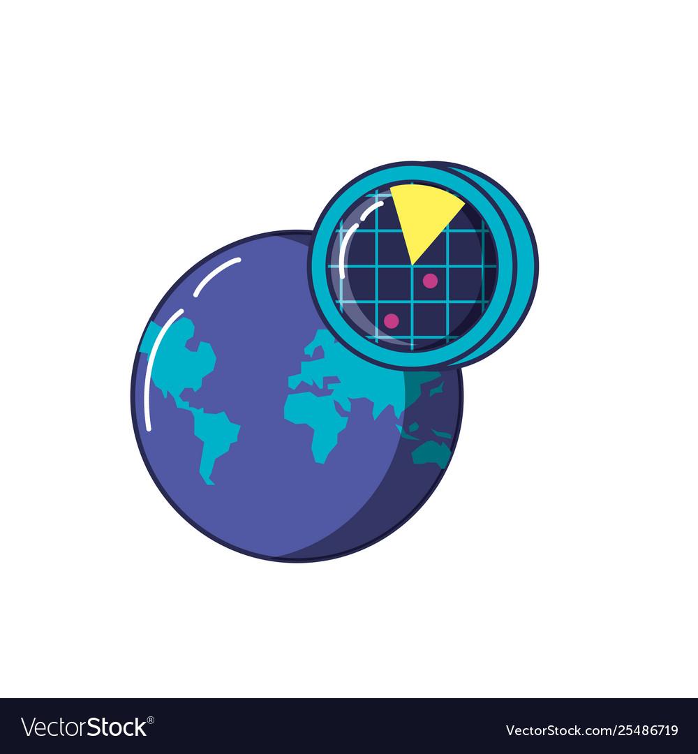 Radar location with planet earth
