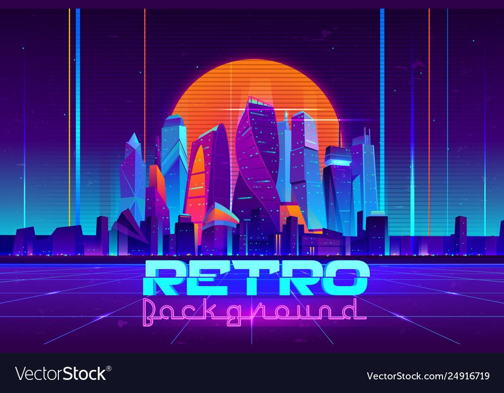 Retro cyberpunk urban background cartoon
