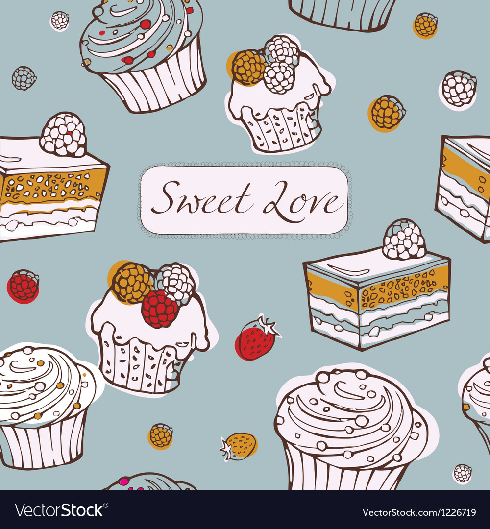 Seamless background with cakes Sweet love card vector image