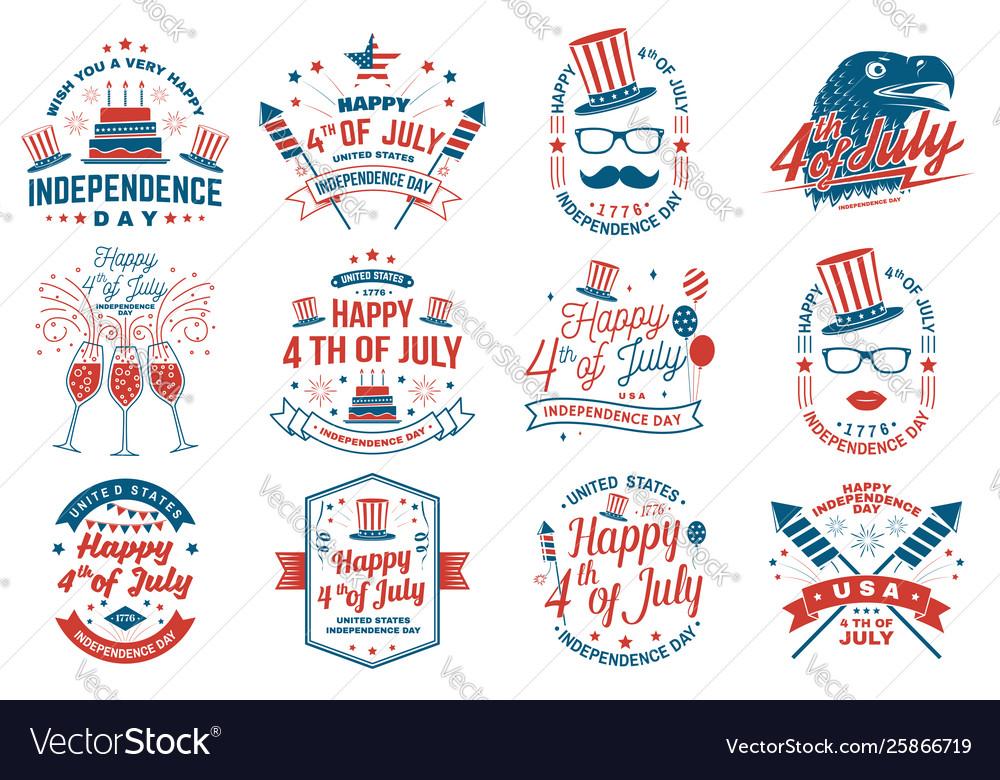 Set vintage 4th july design fourth july