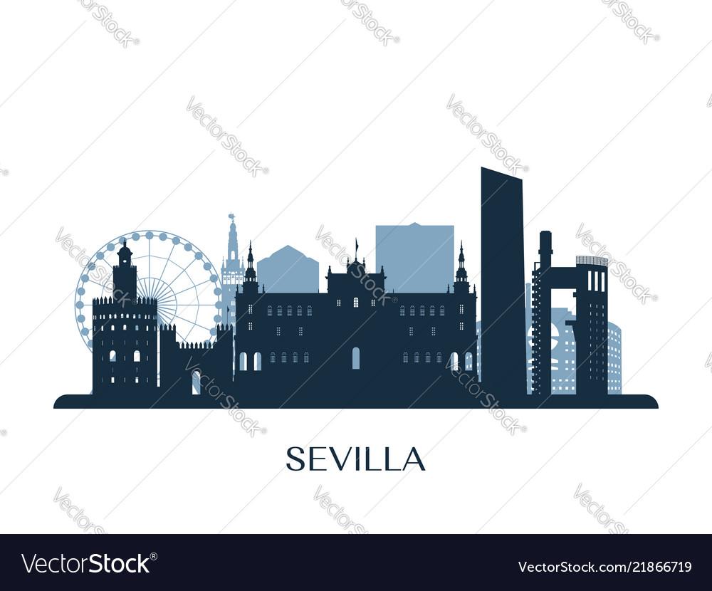 Sevilla skyline monochrome silhouette