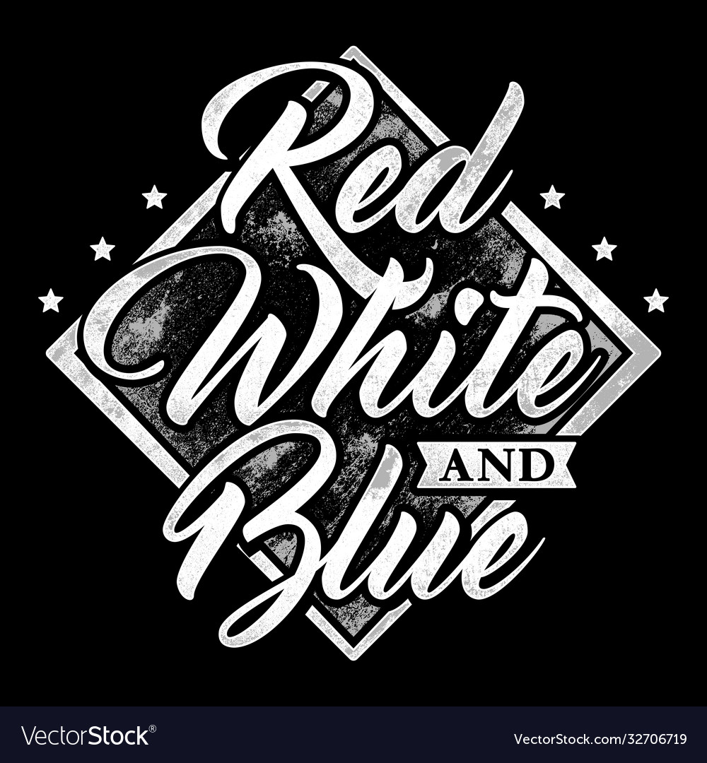 Typography red white and blue