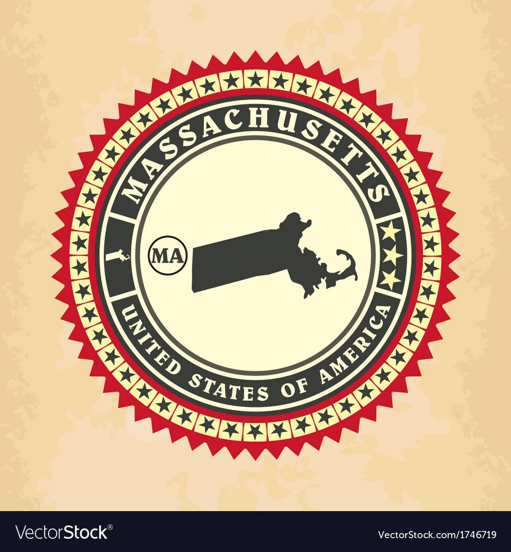 Vintage label-sticker cards of Massachusetts