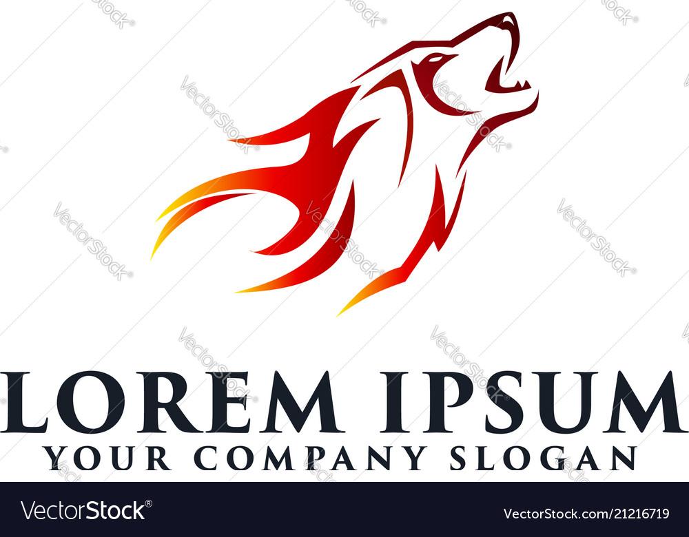 Wolf fire logo design concept template