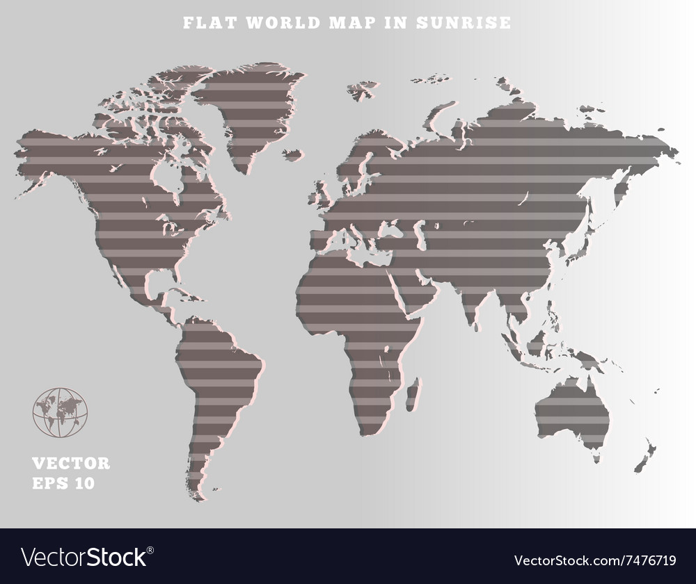 World map striped grey map silhouette on gray vector image gumiabroncs Gallery