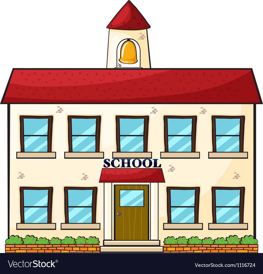 a school building royalty free vector image vectorstock rh vectorstock com cartoon school building with fish cartoon school building black and white