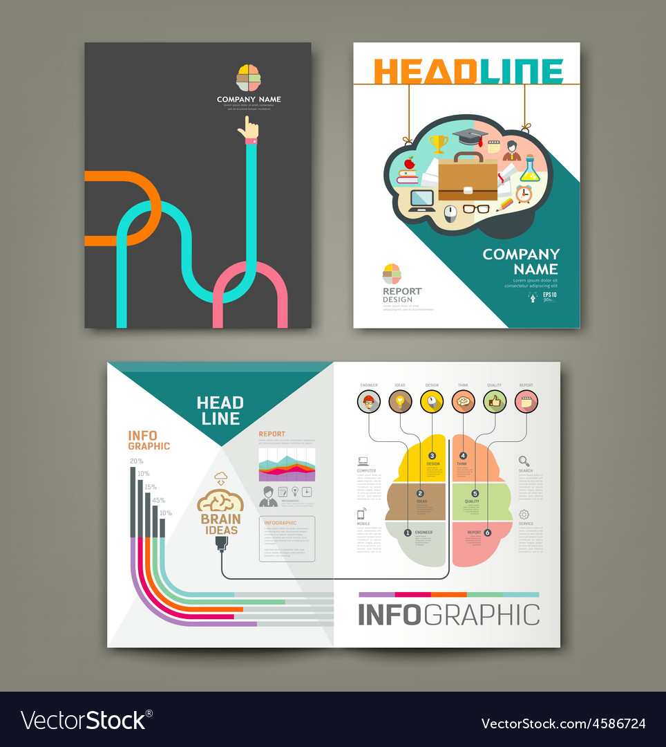 Annual report brain concepts infographic